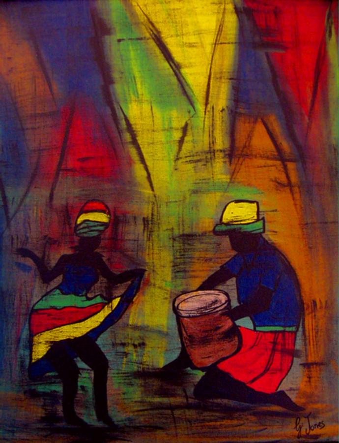 Texture Painting - Soca Dancing by Glenda  Jones