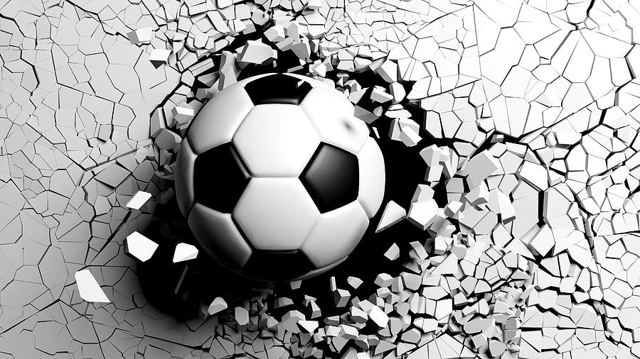 Soccer Ball Digital Art - Soccer Ball Breaking Forcibly Through A White Wall. 3d Illustration. by George Tsartsianidis
