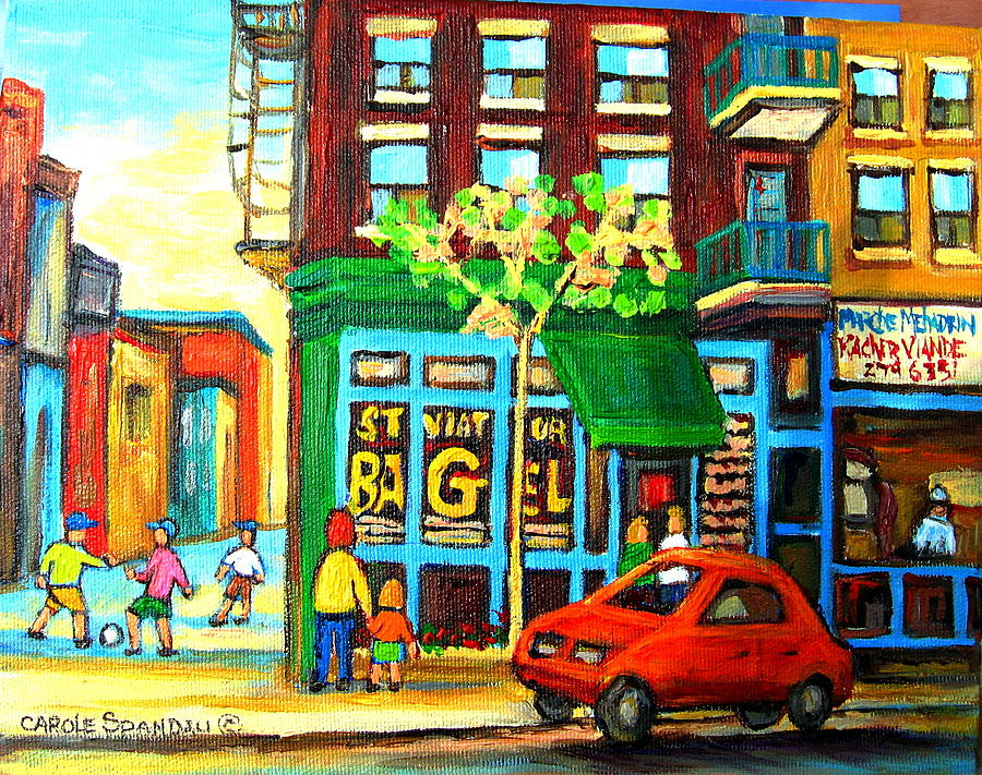 St Viateur Bagel Shop Montreal Street Scenes Painting - Soccer Game At The Bagel Shop by Carole Spandau