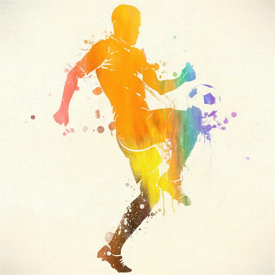 Soccer Player Paint Splatter Painting