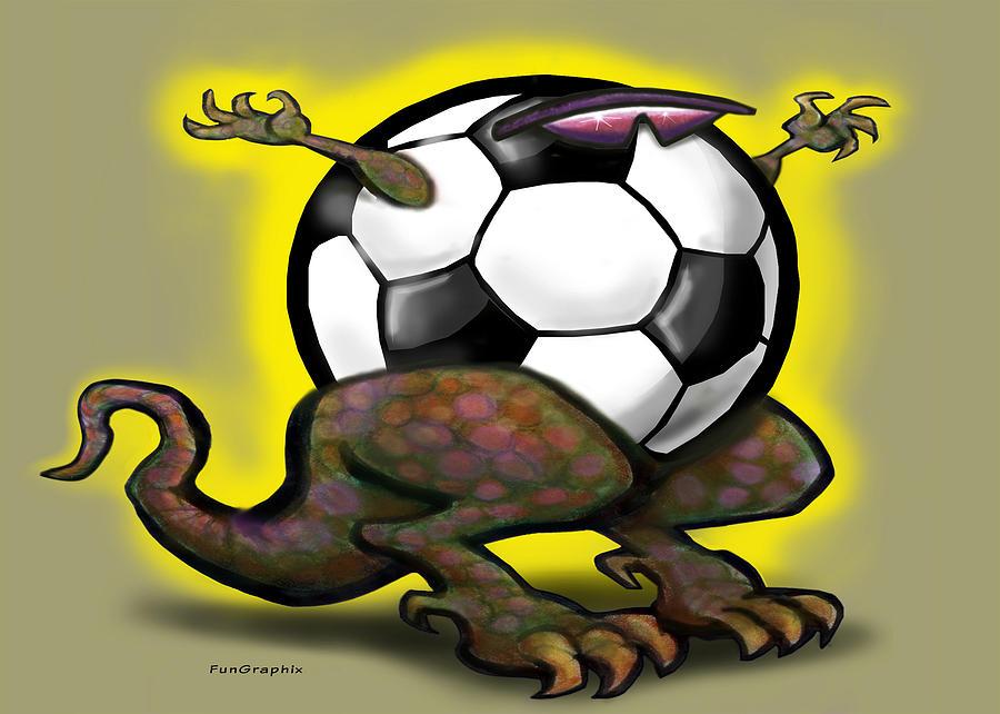 Soccer Digital Art - Soccer Saurus Rex by Kevin Middleton