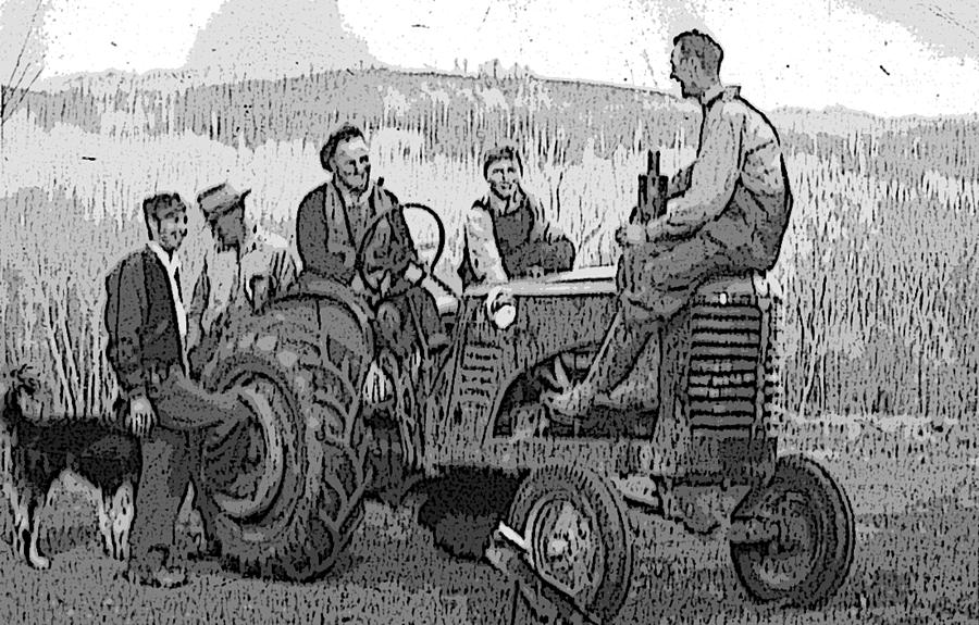 Tractor Digital Art - Social Gathering at the Tractor by Donald Burroughs
