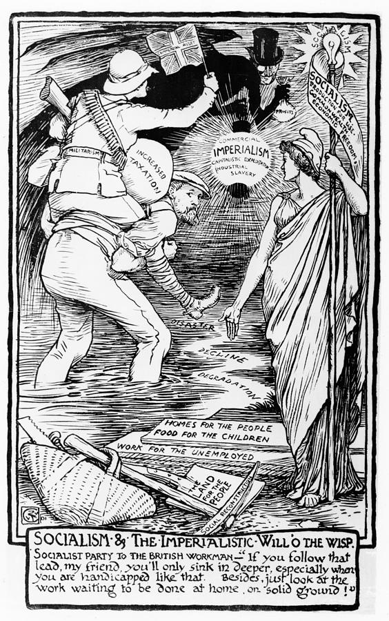 1901 Drawing - Socialism And The Imperialistic Will O The Wisp by Walter Crane