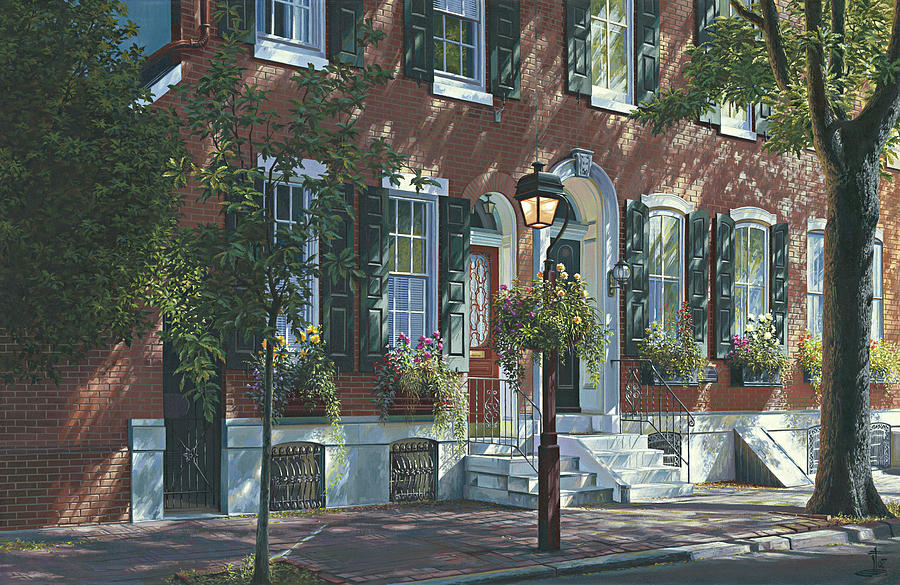 Society Hill Row Home 4 Painting by Ed Ryder