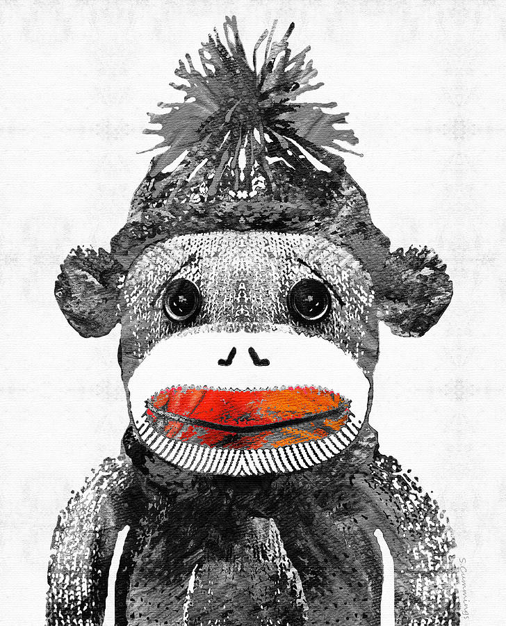 Sock Monkey Painting - Sock Monkey Art In Black White And Red - By Sharon Cummings by Sharon Cummings