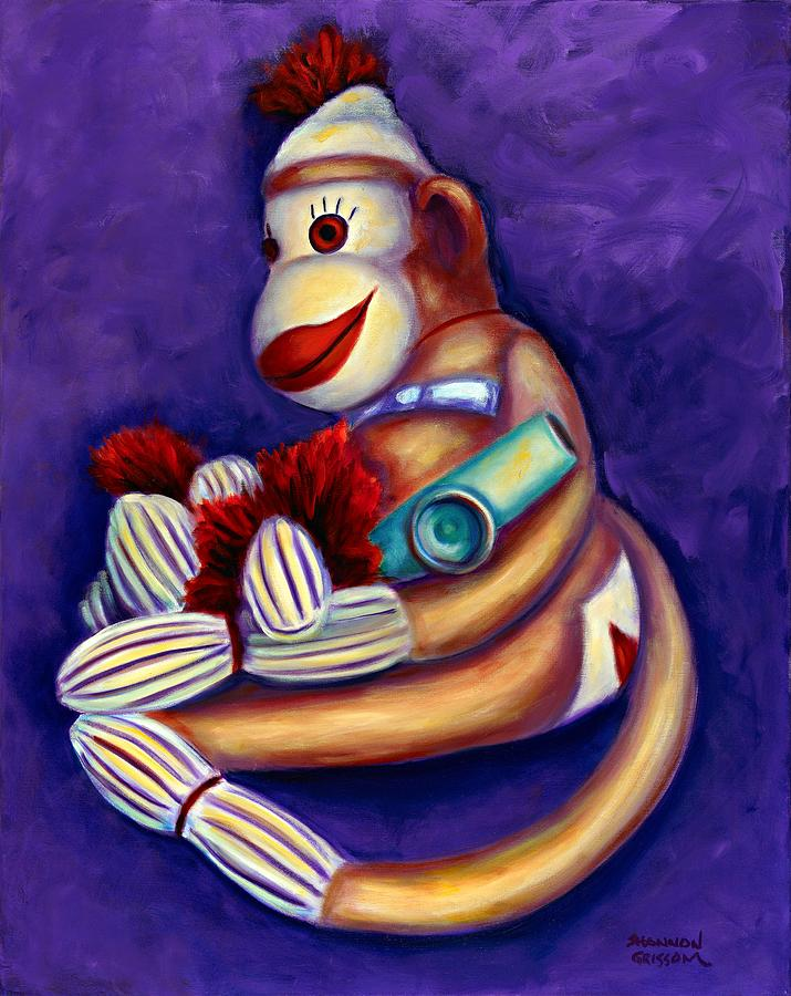 Children Painting - Sock Monkey With Kazoo by Shannon Grissom