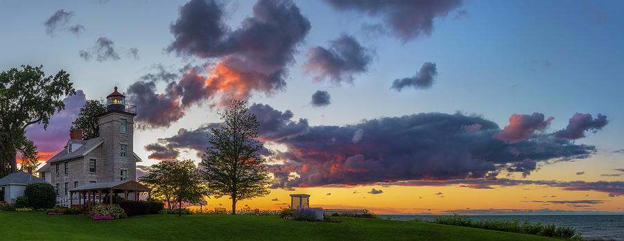 Sodus Bay Lighthouse At Sunset by Mark Papke