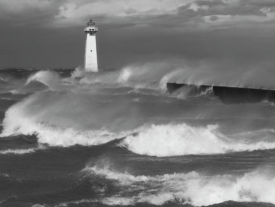 Sodus Point Light during the storm by Chris Babcock