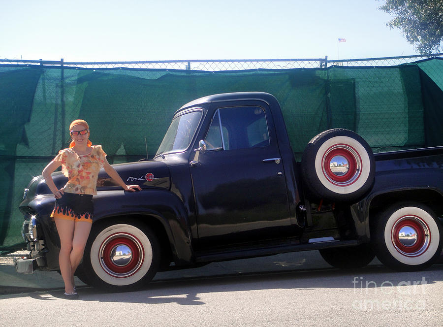 Sofia Goldberg And Vintage Ford Pickup Photograph by Sofia Metal Queen