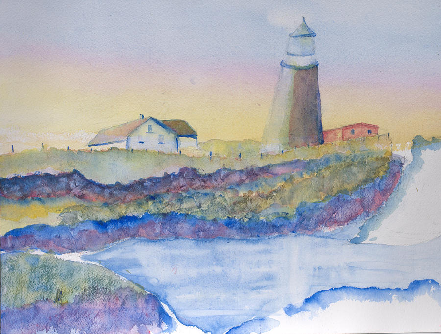 Soft Blue And A Light House Painting by MaryBeth Minton