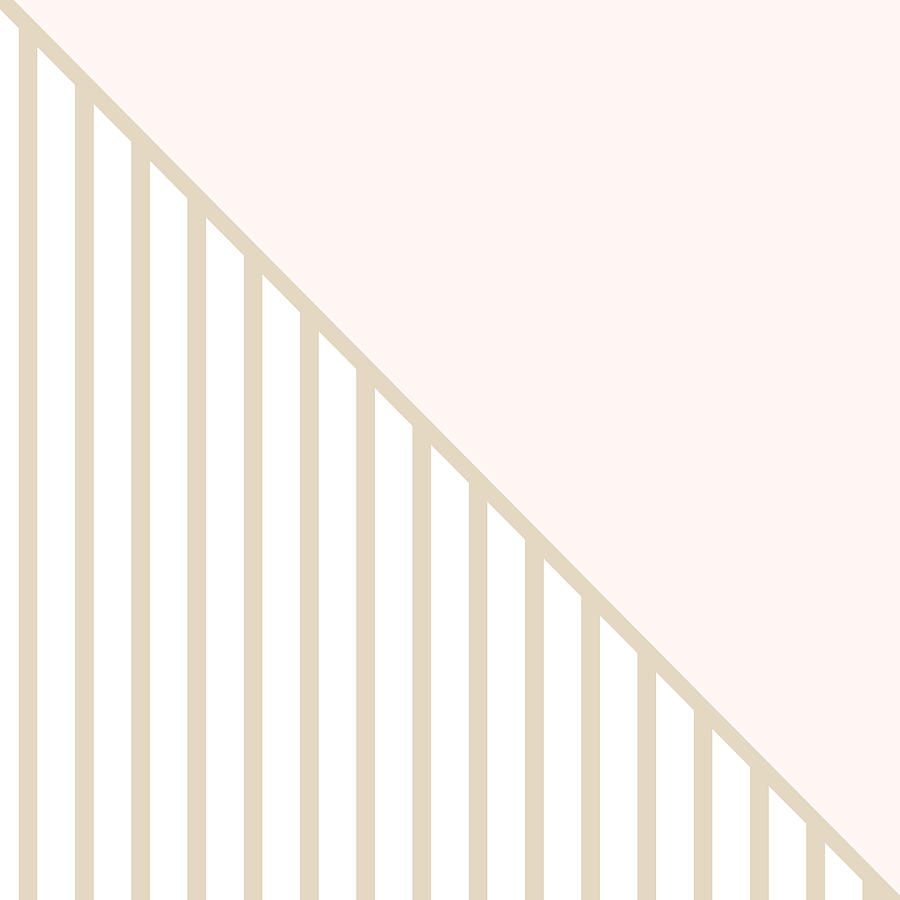 Soft Blush And Champagne Stripe Triangles Digital Art