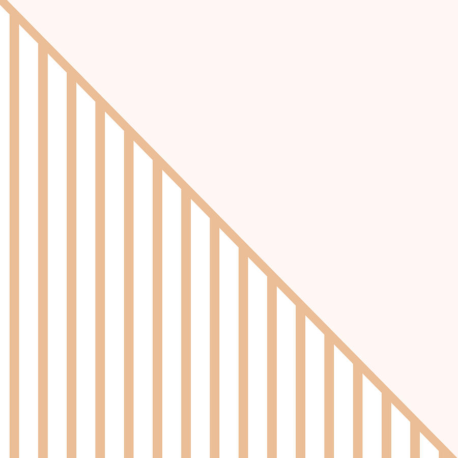 Pink Digital Art - Soft Blush And Coral Stripe Triangles by Linda Woods