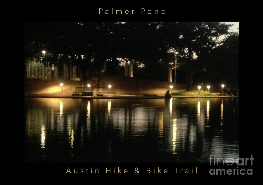 Night In The City Photograph - Soft Evening at Palmer Pond Poster Black Border with Text by Felipe Adan Lerma