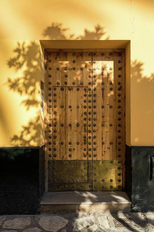 Antique Door Photograph - Soft Golden Shadows - Antique Door Fortified With Brass Studs Seville Spain & Soft Golden Shadows - Antique Door Fortified With Brass Studs ...