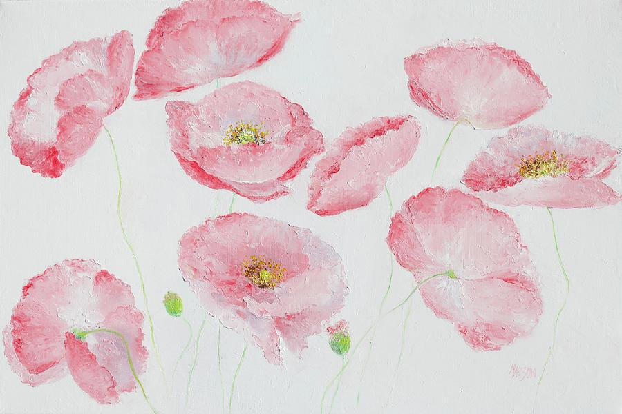 Iceland Poppies Painting - Soft Pink Poppies by Jan Matson