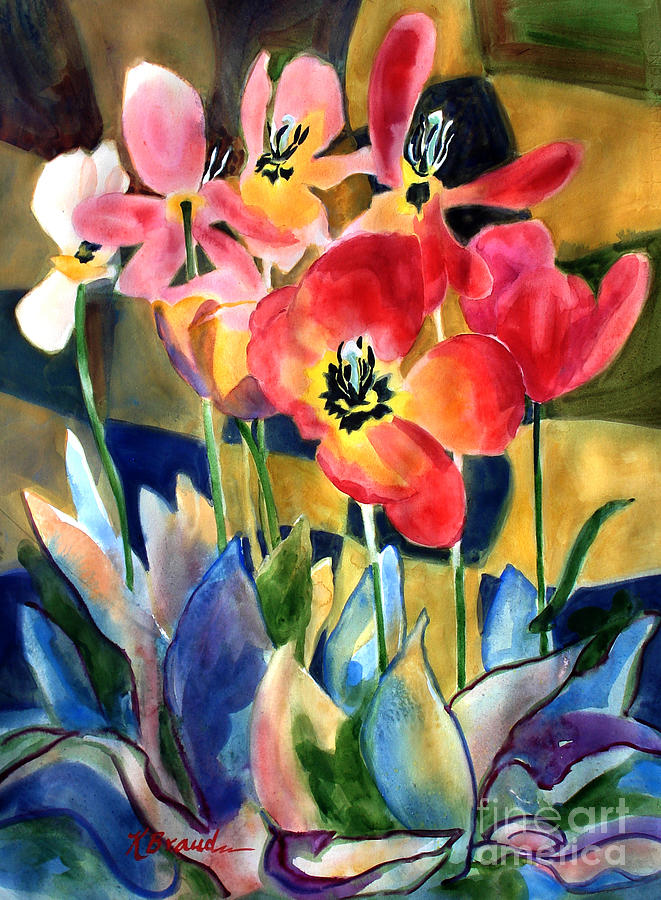 Paintings Painting - Soft Quilted Tulips by Kathy Braud