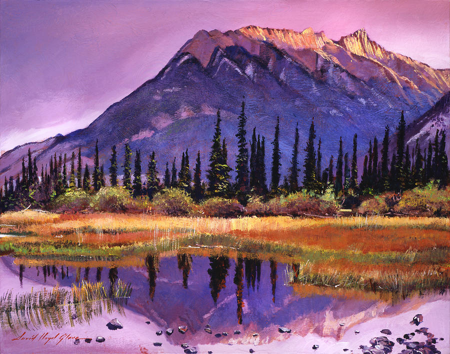 Mountains Painting - Soft Shades Of Reflections by David Lloyd Glover