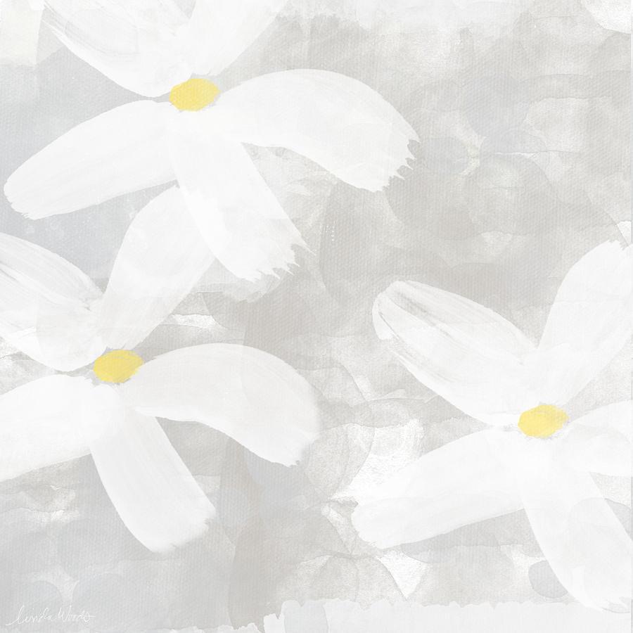 Soft White Flowers Painting By Linda Woods