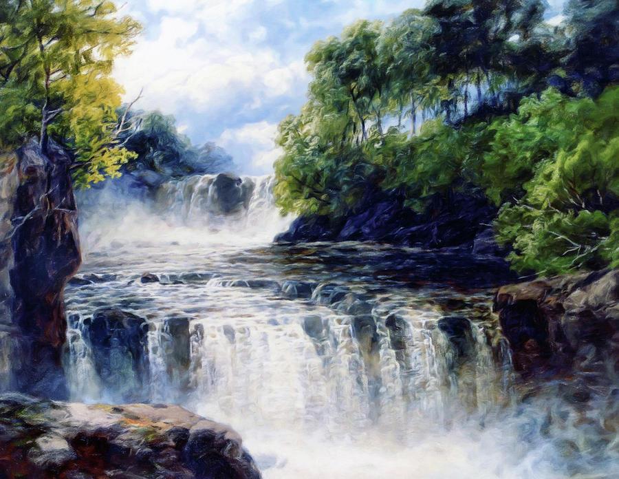 Trees Painting - Softly Fall The Swallow Falls by Georgiana Romanovna