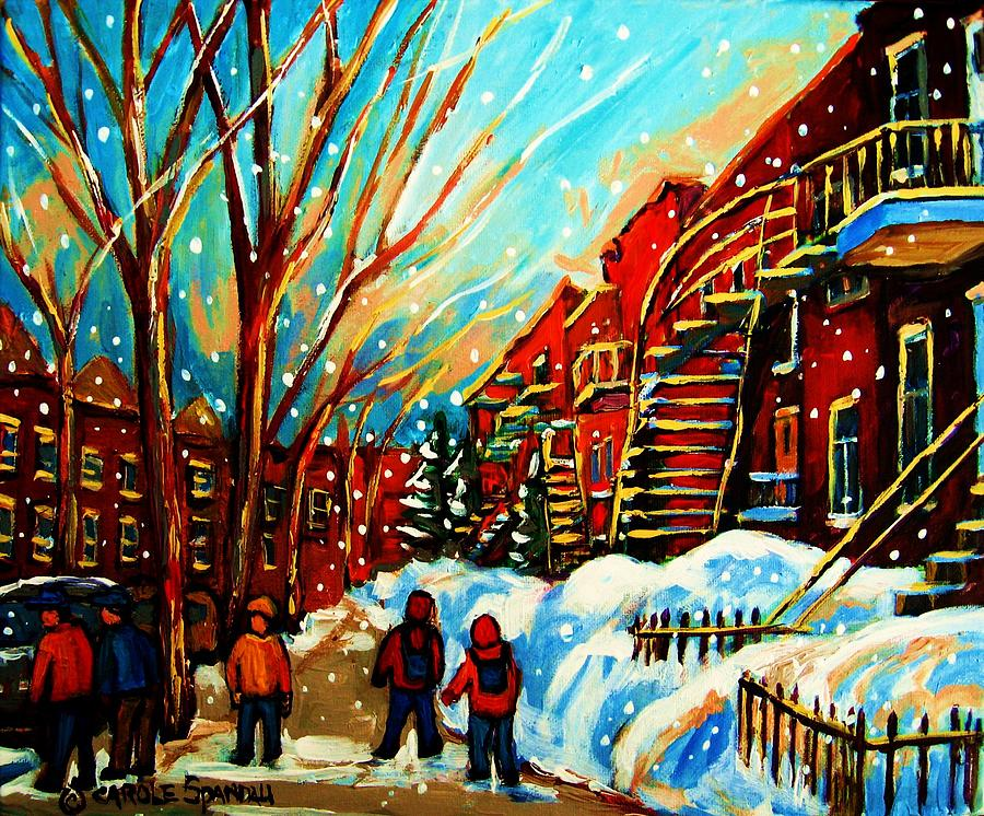 Montreal Painting - Softly Snowing by Carole Spandau