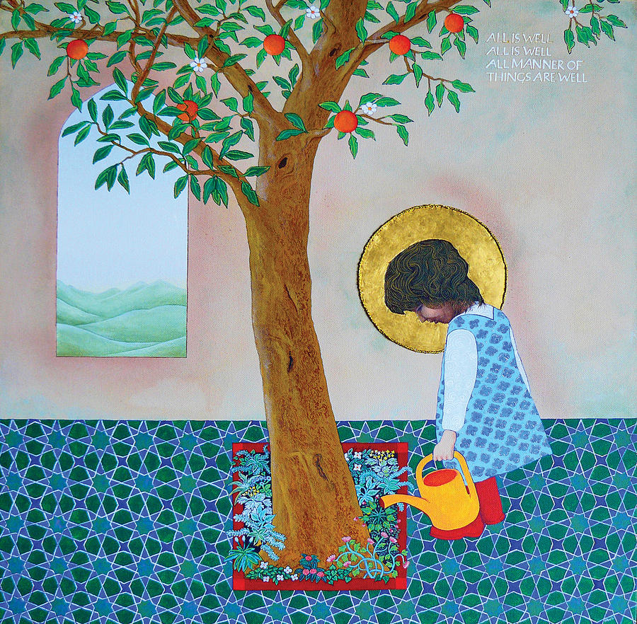 Tree Painting - Sofy Waters the Tree - All is Well by Nicholas Breeze Wood