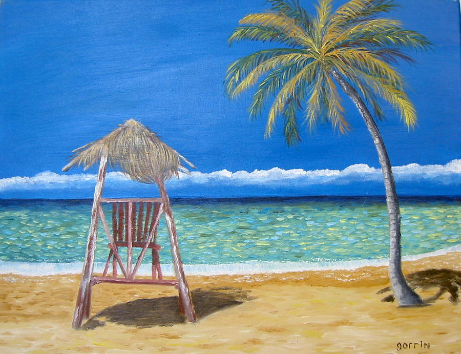 Tropical Painting - Sol Y Soledad Sun And Solitude  by Roger E Gorrin