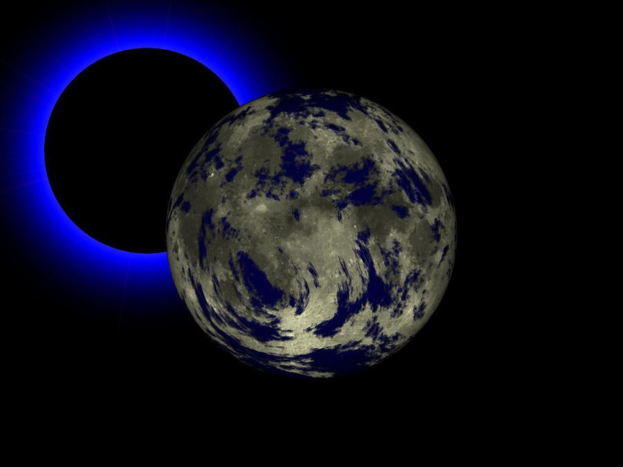 Space Fantasy Digital Art - Solar Eclipse by Juana Maria Garcia-Domenech