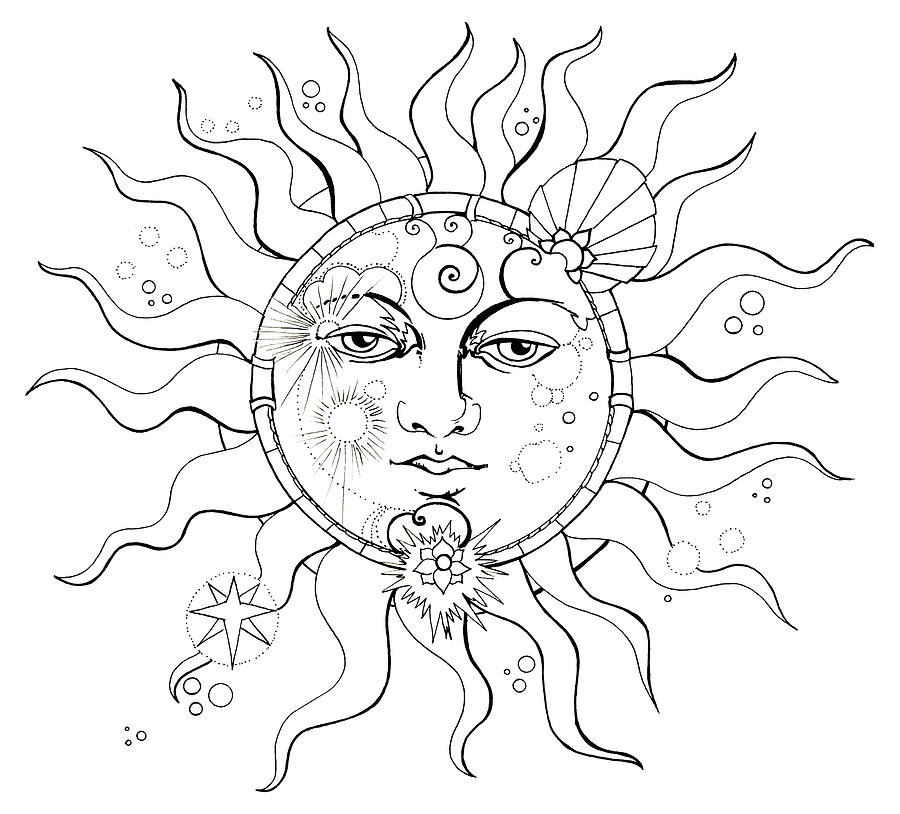 Moon eclipse coloring pages for Solar eclipse coloring page