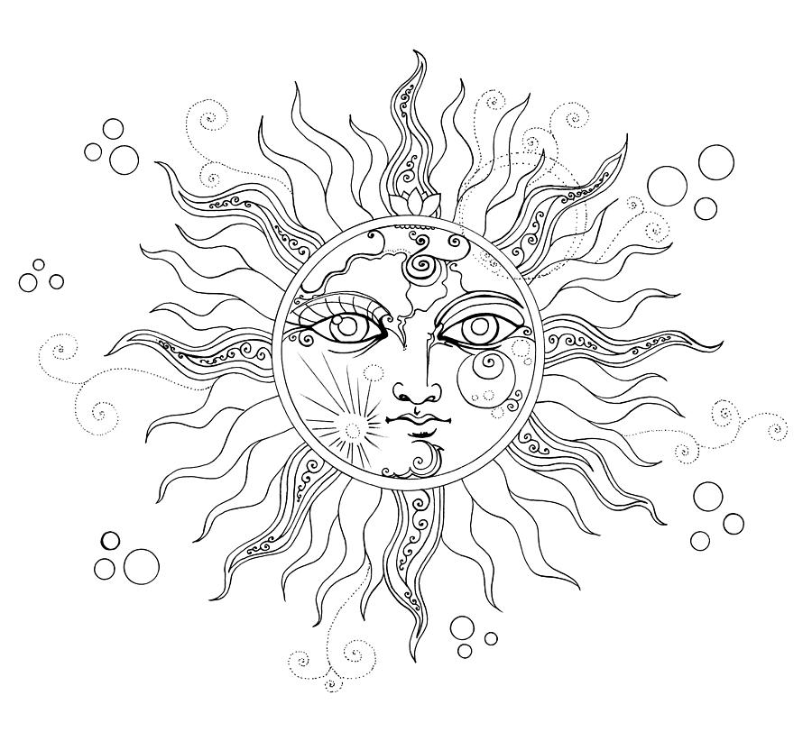 solar eclipse moon face line drawing drawing by katherine nutt