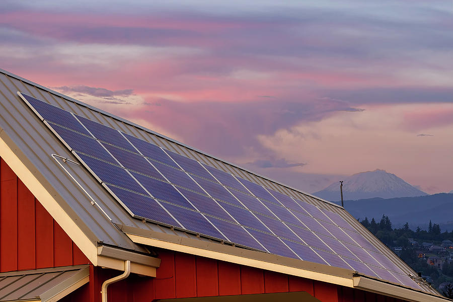Solar Photograph - Solar Panels on Roof of House by David Gn