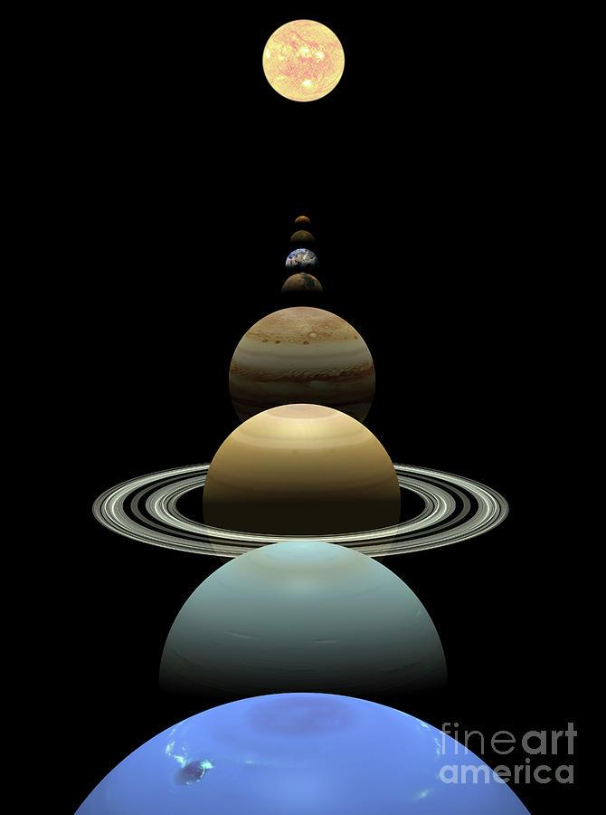 Solar System Planets In Alignment Around Sun Digital Art