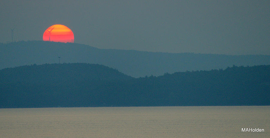 Sunrise Photograph - Solar Windmill Mallets Bay Vermont by Mark Holden