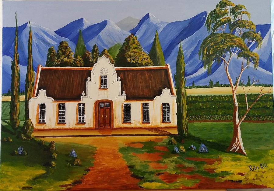 Sold Cape Dutch Bishops Court Mountains Painting By Rita Kili