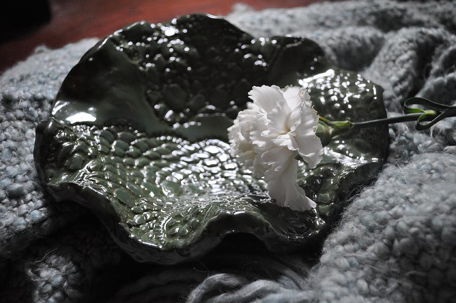 Bowl Photograph - Sold Olive Speckle Lace Bowl Sold by Amanda  Sanford