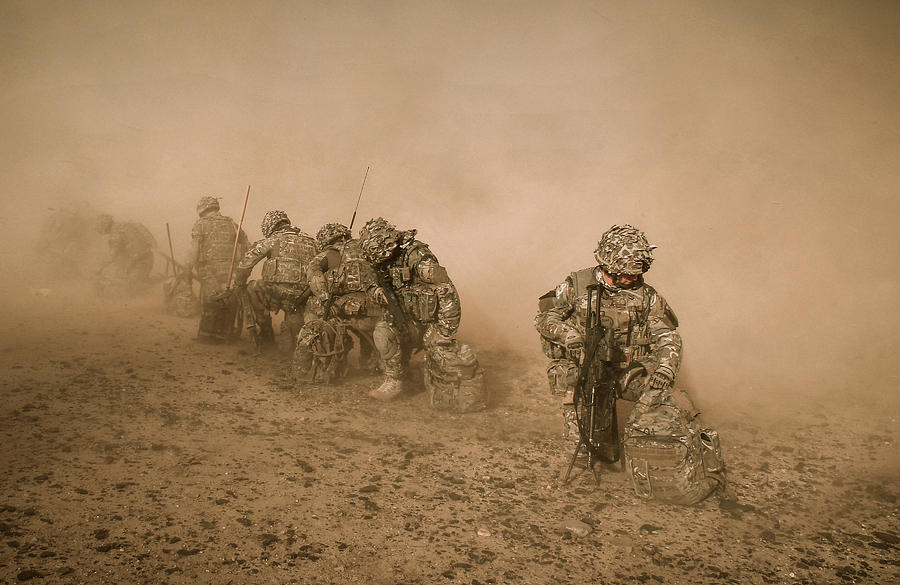 Army Photograph - Soldiers In The Dust 2 by Roy Pedersen