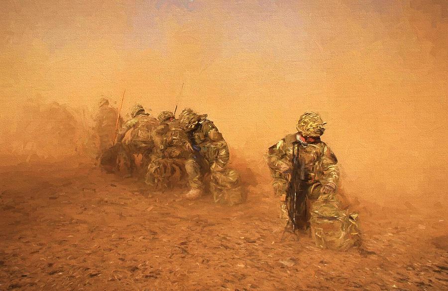 Army Digital Art - Soldiers In The Dust 4 by Roy Pedersen
