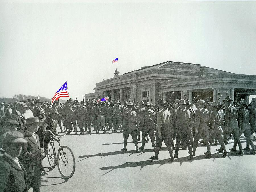 Soldiers Marching In Ww1 Parade El Paso And Southwestern Depot Tucson  Arizona Circa 1916-2015 Photograph