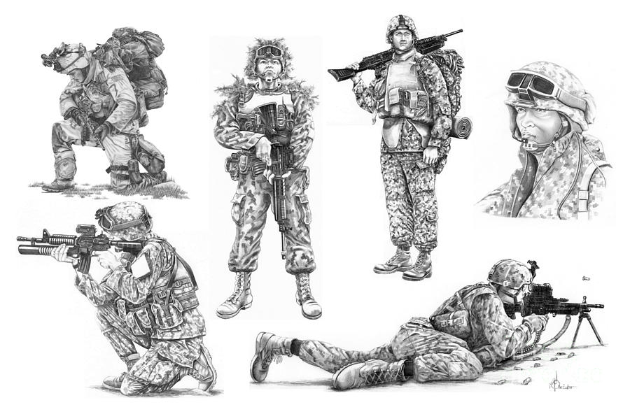 Pencil Drawing - Soldiers by Murphy Elliott