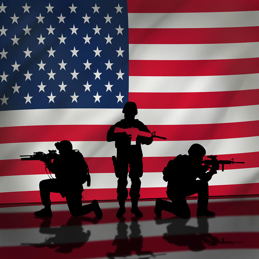 American Flag Digital Art - Soldiers On American Flag by Ross