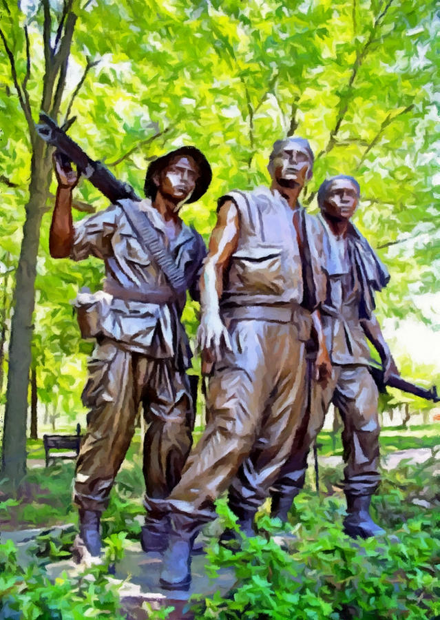 War Photograph - Soldiers Statue At The Vietnam Wall by Bob Johnston