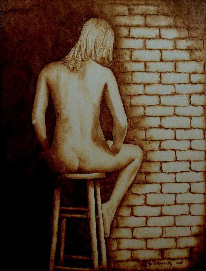 Pyrography; Woodburning; Nude; Brick; Stool Pyrography - Solitaire by Jo Schwartz