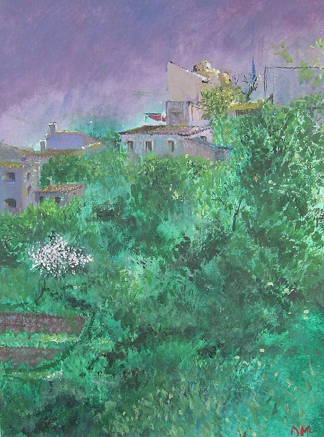 Impressionist Painting - Solitary Almond Tree In Blossom Mallorcan Valley by Lizzy Forrester