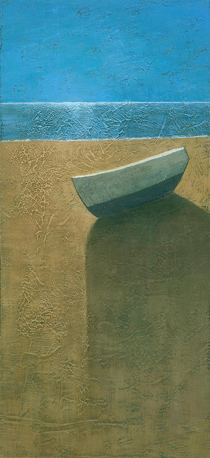 Blue Painting - Solitary Boat by Steve Mitchell