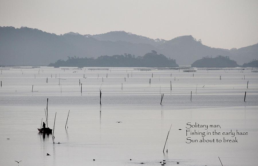 Sea Photograph - Solitary Fisherman - Haiku by Leonard Sharp
