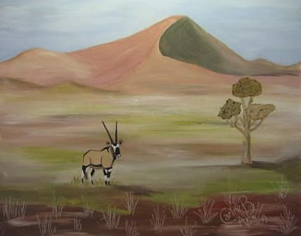 Solitary Oryx Painting by Carine Badenhorst-Fourie