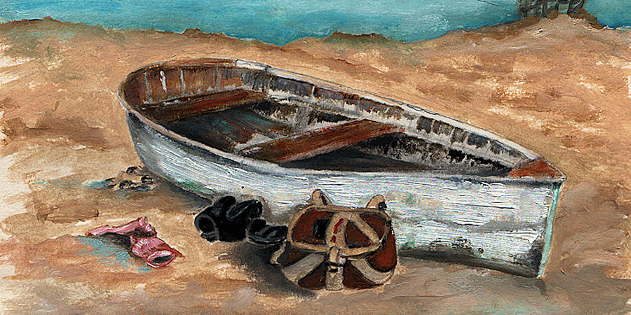 Boat Painting - Solitary by Penny Everhart
