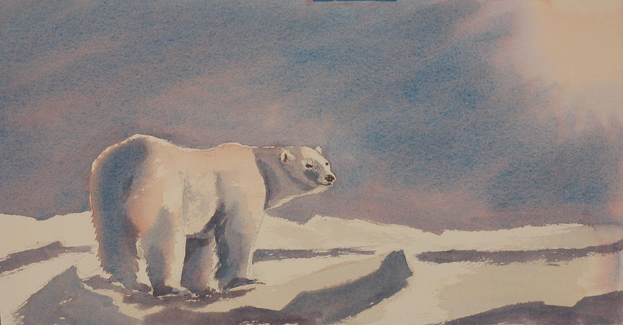 Polar Bear Painting - Solitary Polar Bear by Debbie Homewood