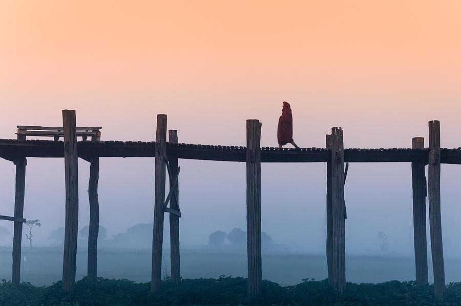 Burma Photograph - Solitary Walk by Marji Lang