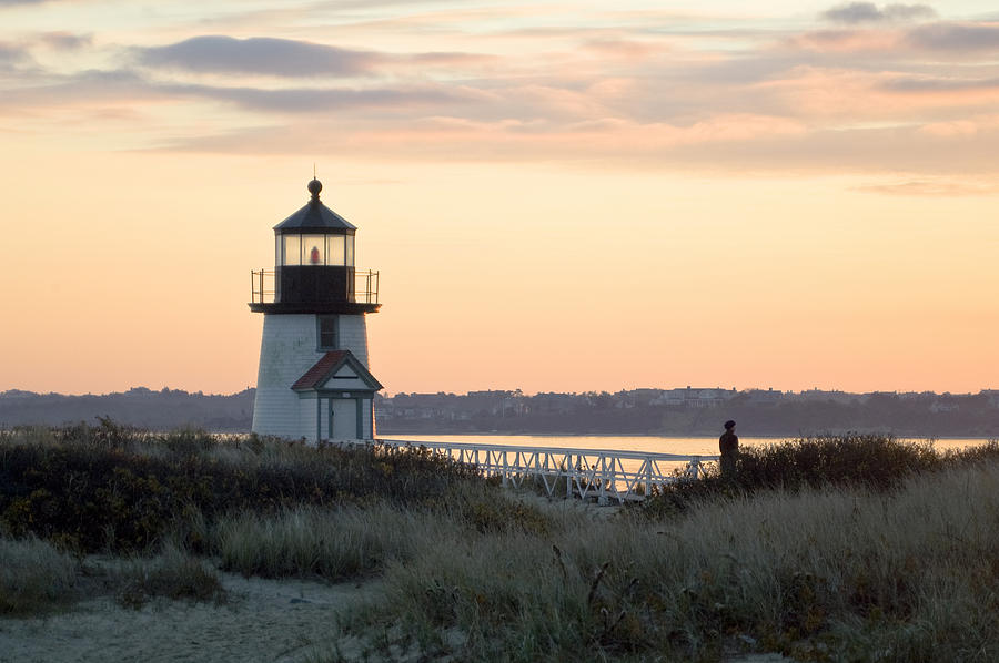 Nantucket Photograph - Solitude At Brant Point Light Nantucket by Henry Krauzyk