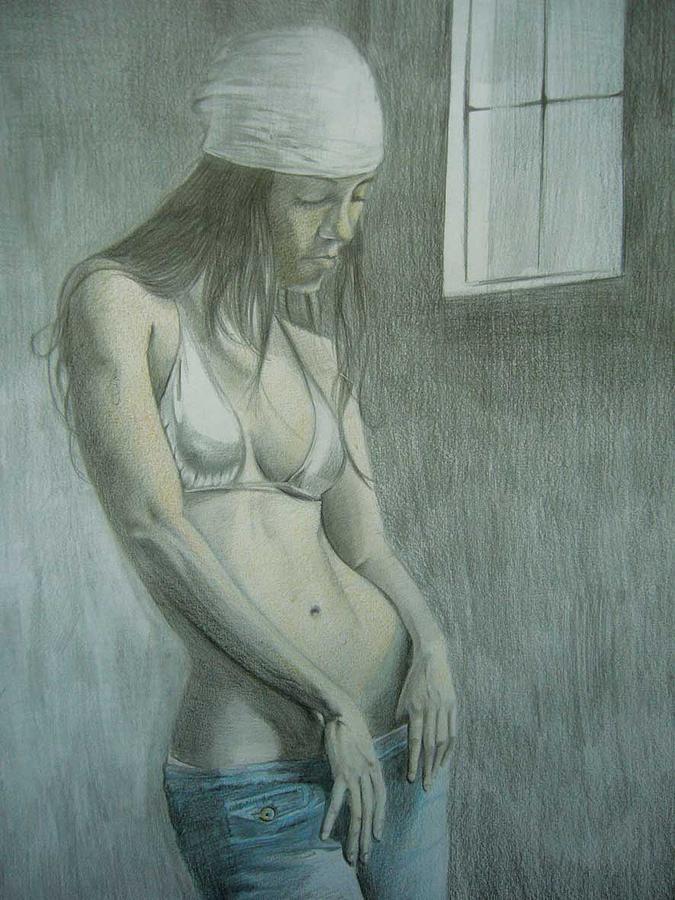 Coloured Drawing - Solitude by Fabio Turini